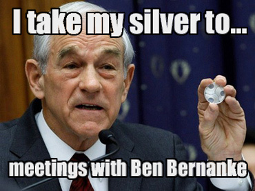 Ron Paul Flashes a Silver Circle to Bernanke in Financial Committee Meeting