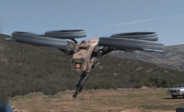 Prototype Quadrotor with Machine Gun! (FAKED,... but how far off is this?)