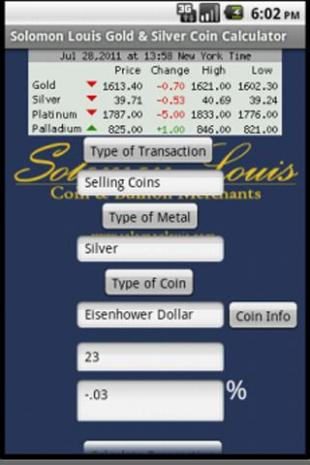 New Gold &amp; Silver Coin Calculator! A Must See! Best Android App of 2011! 