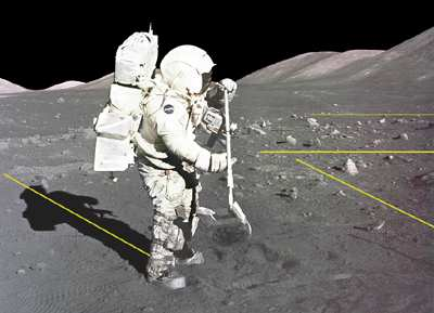 Lunar landing fake shadows astronaut apollo 11