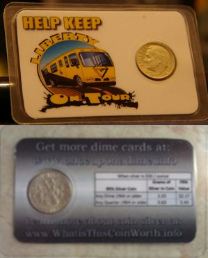 Putting LIberty DIme cards on tour!
