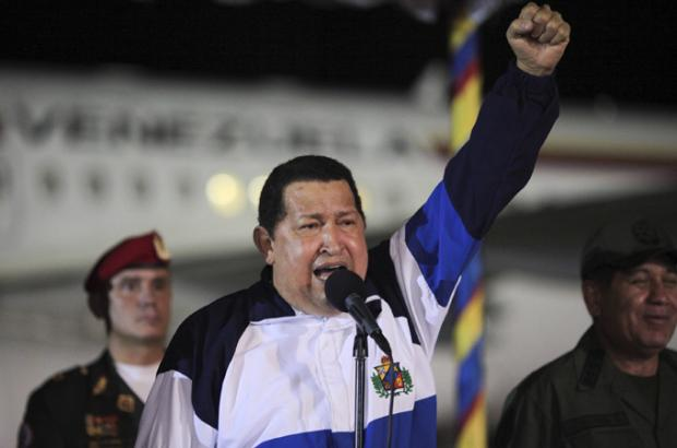 Chavez gives speech and sings after treatment