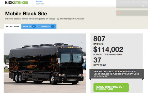 Kickstarter of Doom: Hoax Site �Funds� Torture Bus, Death Drones