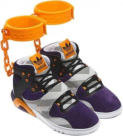 Adidas under fire for unveiling new trainer with orange 'shackles' like those worn by black 