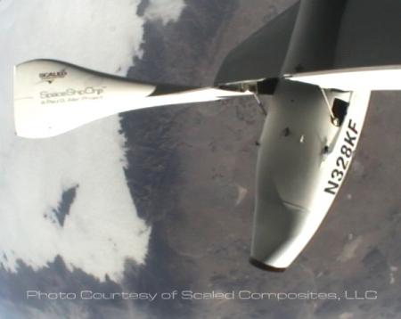 SpaceShipOne re-entering with tail up position