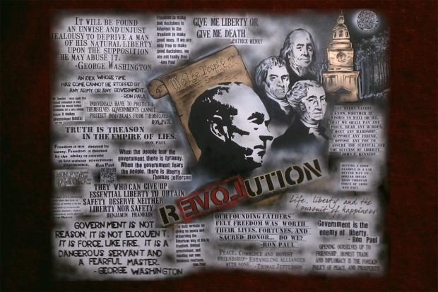"Amazing Ron Paul ""Speed"" quote collage! Liberty Painting!"