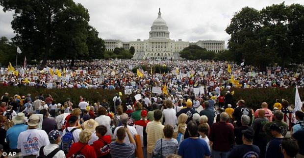Up to two million march to US Capitol to protest against Obama's spending in 'tea-party'