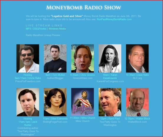"""Legalize Gold and Silver"" MoneyBomb Radio Show - LIVE NOW!"