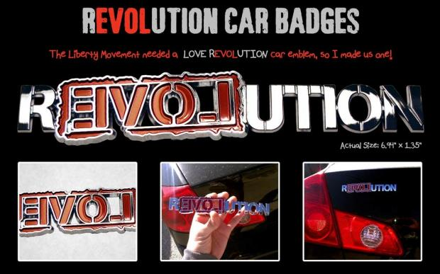 Chrome LOVE REVOLUTION Car Badge