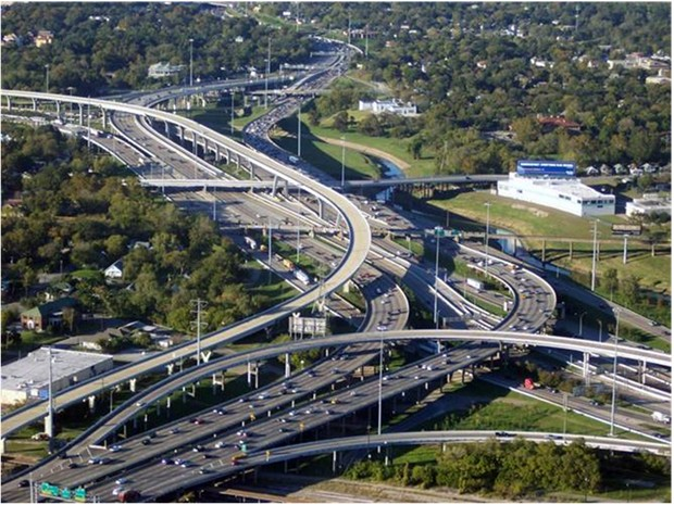 WORLD'S MOST COMPLEX INTER-CHANGE TEXAS USA Interstate 10 I10 Highways Interchange Houston