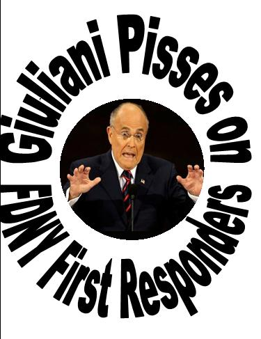 Giuliani Pisses FDNY First responders urinal target