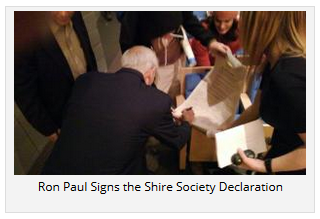 Ron Paul Signs the Shire Society Declaration