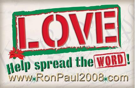 LOV3 Christmas Card for Ron Paul 2007