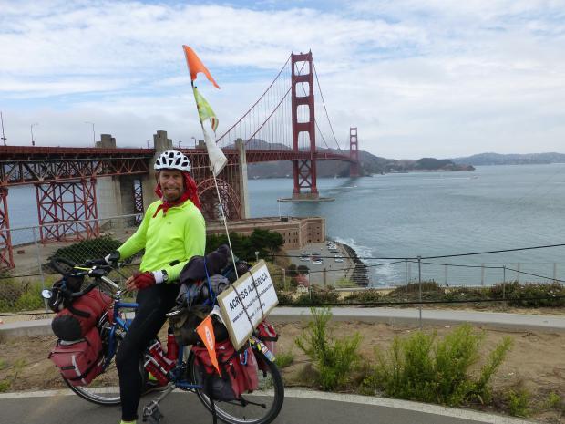 Frosty Wooldridge on bicycle at Golden Gate Bridge