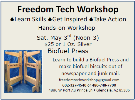 Freedom Tech Workshop - Sat May 3rd, 2014 - Learn to build a biofuel press and make biofuel biscuits