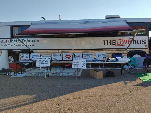 The Love Bus Liberty Tour will be in Prescott. AZ, Wed Sept 15th, 3-7 pm for a sign-making event
