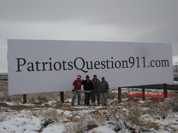 Partriots Question 911 billboards sanders arizona I 40 I40 I-40 tesla morpheus 4409 Patriotsquestion911.com